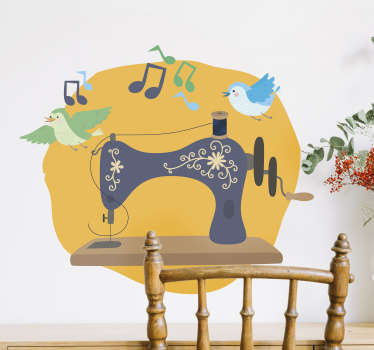 Sewing machine with bird and sound wall sticker created on a yellow background that will be beautiful on any wall. This design can be in any size.