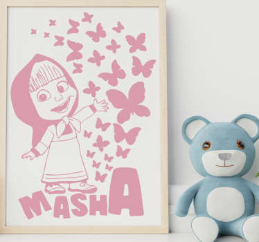 Vinilo decorativo cartoon Masha con mariposa