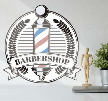 A barber pole art wall sticker for you barbing shop with unique design and text inscription. This product is of high quality matte and easy to apply.