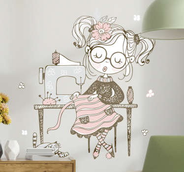 A girl sewing set illustration art wall sticker for your daughter's room. This product is made of high quality material and can be in any size.