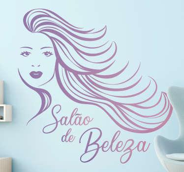 """Decore o seu salão de beleza de forma personalizada com este fantástico autocolante decorativo para empresas com as palavras """"Salão de Beleza"""" a roxo."""