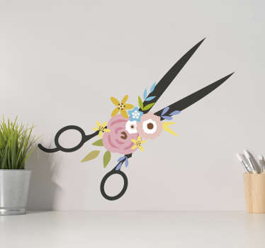 Scissors and flowers wall sticker for your sewing space or any surface. This product is made of high quality and you can get it in any size.
