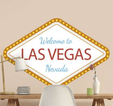 Las Vegas custom sign wall sticker that is made of high quality vinyl, easy to apply and  you can request in any size of your choice.