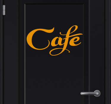 Elegant text door sticker, perfect for coffee lovers! This decal will get you thinking about the indescribably delicious aromas of coffee!