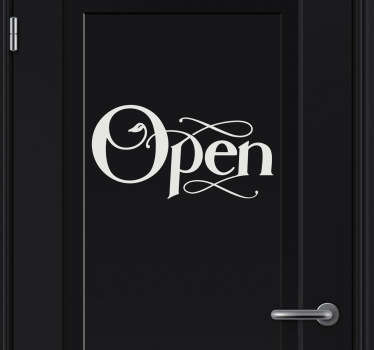 "A decorative sticker for your doors with the text ""Open"". Brilliant to give your door a stylish touch make everyone aware about your door!"