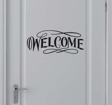 "Sticker with a friendly ""Welcome"" text in a stylish font. Perfect decal to decorate your home or business and welcome your guests! Choose your own size and colour and apply to any flat surface you want, be it a door, window, wall or floor."