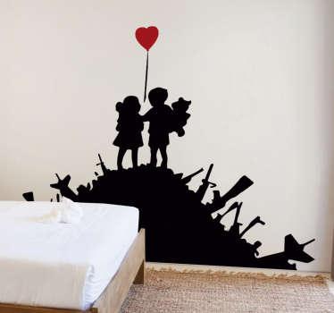 Vinilo decorativo niños con silueta Banksy. Diseño de dos niños tomados de la mano en un sitio monte. Diseño inspirado en la obra de arte banksy.