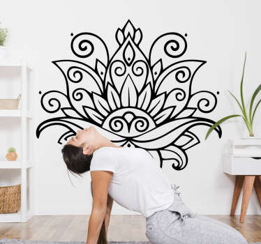 Mandala flower floral wall sticker created in a black colour and can be in any other colour of your choice. You can also choose the size you prefer.