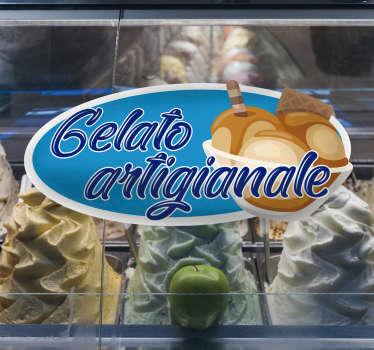 Adesivo da parete per gelato fatto in casa per il tuo punto gelato. Un design creato su uno sfondo  blu con gelato, biscotti e portata. Molto facile da applicare.