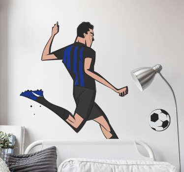 Adesivo da parete calcio giocatore Inter per la cameretta dei tuoi ragazzi o qualsiasi parte della tua casa. Questo è un disegno di un giocatore che gioca.