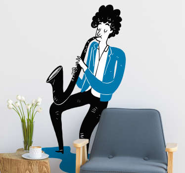 Kids Wall Stickers - Playful sketch illustration of a young saxophonist. Great for decorating any area for children.