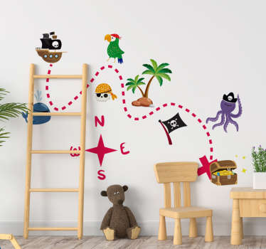 Treasure map for kids wall sticker that contains route line to treasure.This product will be nice in your child's bedroom and can have it in any size.