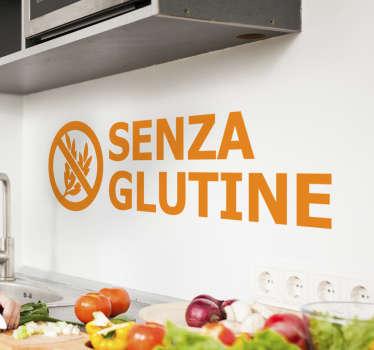 Adesivo da parete per alimenti senza glutine nella tua cucina. Questo prodotto ha un design in un colore arancione e puoi averlo nel tuo colore e dimensione preferiti.