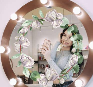Un sticker de miroir de salle de bain fleur blanche colorée avec laquelle vous aimerez changer la surface de votre miroir pour avoir une belle apparence. Facile à appliquer.