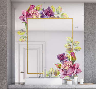 A colourful flower mirror sticker design to create unique mirror surfaces to rid it of it boring look.This product is easy to apply and you can chose.