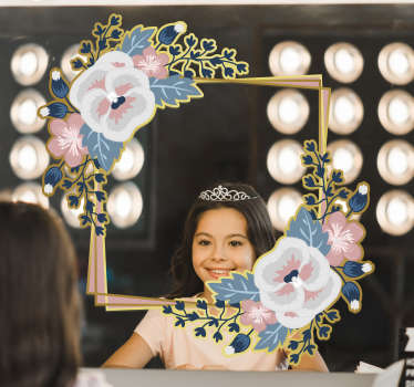 A beautiful flower mirror frame sticker that will leave you with amazement when you use your mirror. High quality product that is very easy to apply.