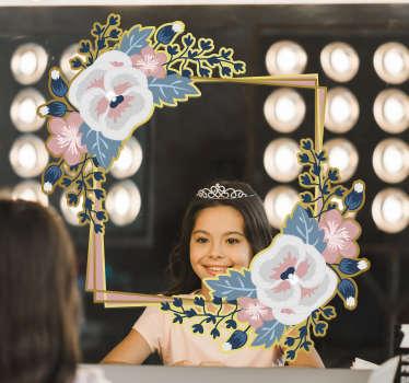 Un magnifique autocollant de cadre miroir fleur qui vous laissera avec étonnement lorsque vous utilisez votre miroir. Produit de haute qualité très facile à appliquer.