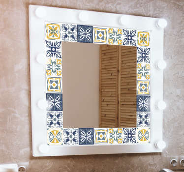 Beautiful adhesive mirror frame sticker that will create a well defined surface with aesthetic beauty to your bathroom mirror. Easy to apply.