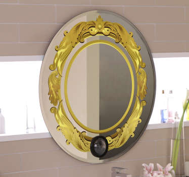 A yellow bathroom mirror decorative sticker that will create a well define surface for your mirror. This design is of high quality and easy to apply.
