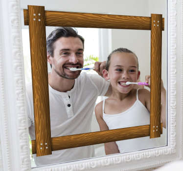 Decorative wooden style mirror frame sticker for your bathroom mirror or any mirror surface at home. It is easy to apply and you can have it in sizes.