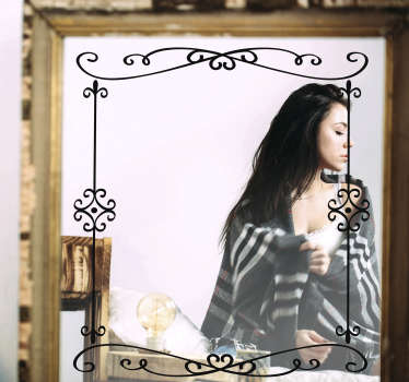 An black decorative ornamental mirror frame home decal that will suite and beautify any mirror object or surface you choose to give a rich definition.