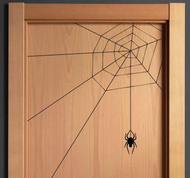 Decals - Illustration of a spider hanging from its web. Can be placed on the corners of your walls, doors or windows.