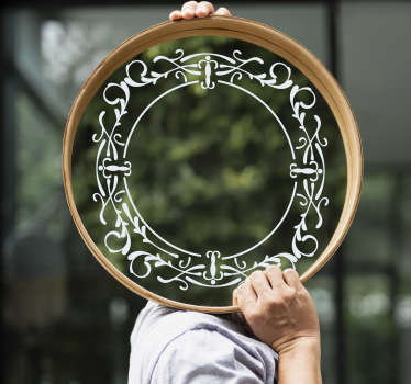 Decorative vintage mirror frame sticker  to create a well define surface for your mirror objects. This beautiful ornamental design is easy to apply.