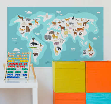 Animal world map wall sticker design of continents with their  animal types created  on a blue sea colour background to make your wall outstanding.