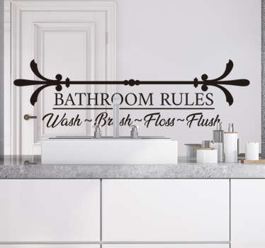 Bathroom rules text wall sticker with the text wash, flush, brush and floss to create tidiness. This product can be in your colour and size of choice.