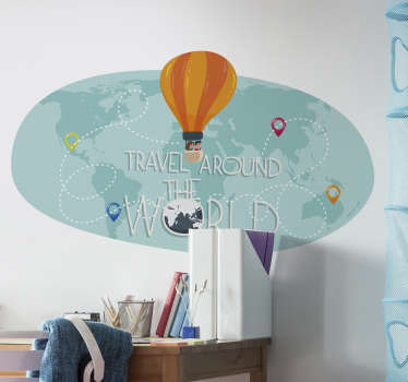 Colourful world map with hot air balloons wall sticker design that will look nice in your kid bedroom to give the feeling that  they can fly anywhere.