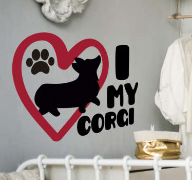 A design of i love my corgi animal wall sticker for your kid's bedroom, playroom and any special space. This product is of the a dog, heat and text.