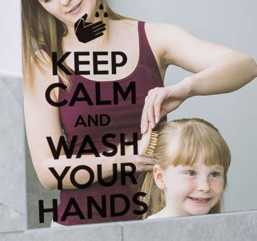 keep calm and wash your hands text bathroom sticker design for your bathroom and toilet. This simple and peaceful instruction design is easy to apply.