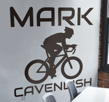 Mark Cavendish cycling wall decal design of the cyclist personality by the name mark cavendish on his bicycle in a silhouette style.