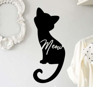 Meow cat silhouette animal wall sticker. A design of a cat in silhouette format with the text 'meow on it. This art design is very unique.