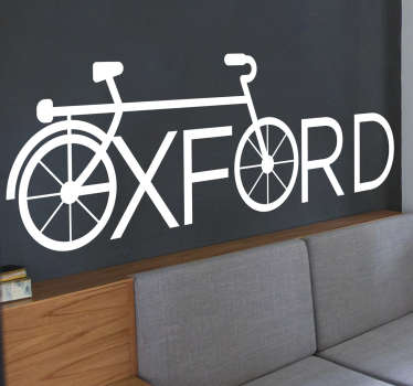 Oxford cycling wall decal design of a bicycle with the front and back wheel created with the name oxford. A design in white simple style.