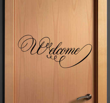 "Door stickers - Elegant ""Welcome"" sign sticker perfect for decorating doors. Use this cursive text decal to welcome people into your home, business or bedroom."