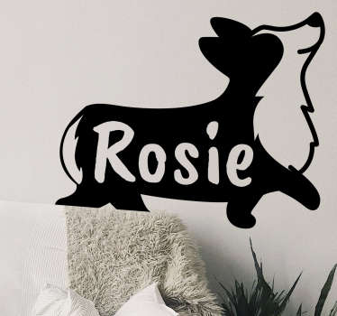 Personalisable name corgi silhouette pet sticker that will make your kid feel super. This is a design that shows a corgi running with a name on it.