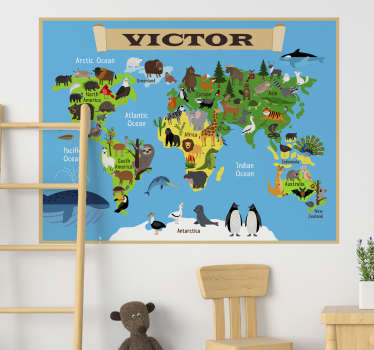 You will love this design of personalised animal world map wall sticker with your name on it. This product is designed with animals around the world.