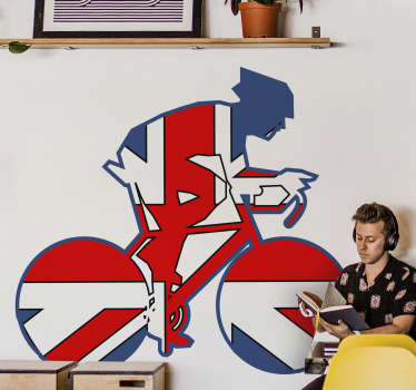 Union jack cyclist cycling wall sticker design of a cyclist on the bicycle with background all of union jack. This product will look nice on any wall.