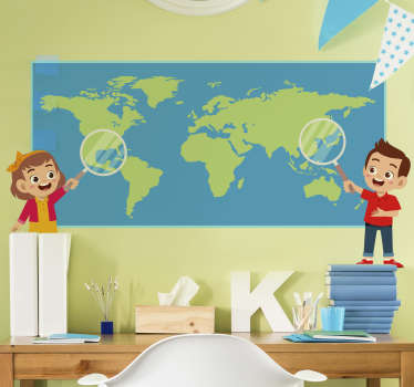 World map for kids world map sticker designed on a blue background with the world map on it and two kids pointing a magnifying lens on it.