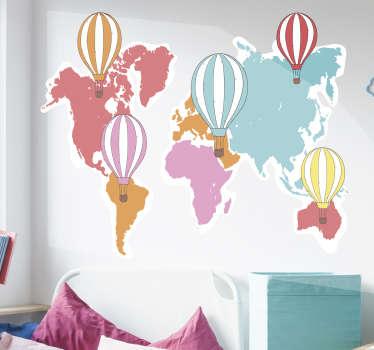 世界地図と美しい色の風船で作成された風船の壁のステッカーで、この世界地図であなたの家を変えてください。サイズを選択できます。