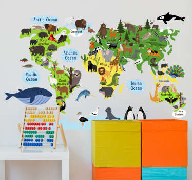 You will love this design of world map with trees and animals location wall sticker on your wall. It's a design of animals on the map you cant resist.