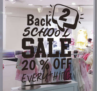 Back 2 school sale  sticker for shop windows to promote business. This product is designed with text content in black, and special feature call symbol.