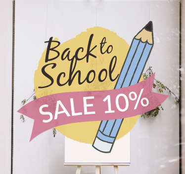 Back to school sale pins sale window sticker designed on a yellow background, with a black text 'back to school' with a pencil by the side .