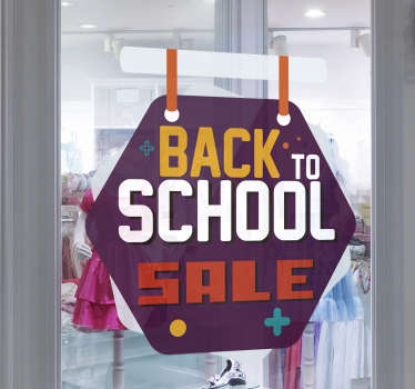 Back to school sale tags sticker design created on a purple background with the text for sales promotion in yellow, orange, and maroon  colour.