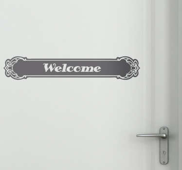 Decals - Attractive welcome sign with traditional letters inside an ornate, perfect to embellish any door in your home.