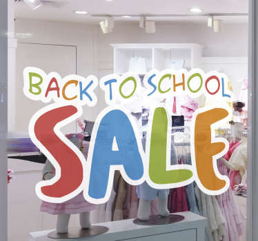 Advertise your seasonal offer with this back to school sale text wall sticker for your shop.This design is created in multicoloured text just for you.