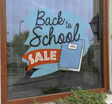 Fun back to school sale sticker design in blue background. This design contains promotional text and a book in a drawing pattern. Easy to apply.