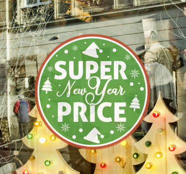 Green new year sales sticker for your business place and shops. This high quality product is designed in a green circle with light, trees and stars.