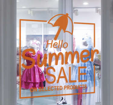 Hello summer sale sale sticker designed in orange colour. This Hello summer sale sale decal design contains an umbrella, promotional and text.